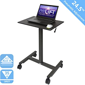 """Seville Classics Airlift 24.5"""" Pneumatic Height Adjustable Sit-Stand Mobile Laptop Computer Desk Cart (29.3"""" to. 43.5"""" H), 24"""", Black"""