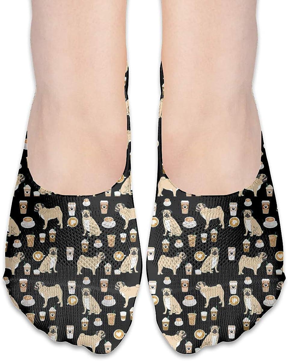No Show Socks Women Men For Pugs Coffee Cute Flats Cotton Ultra Low Cut Liner Socks Non Slip