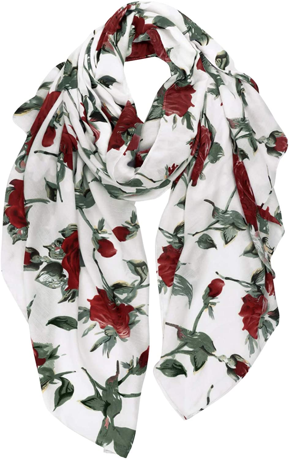 GERINLY Rose Blossom Print Special price Scarf Max 65% OFF Summer Bl Lightweight Women for