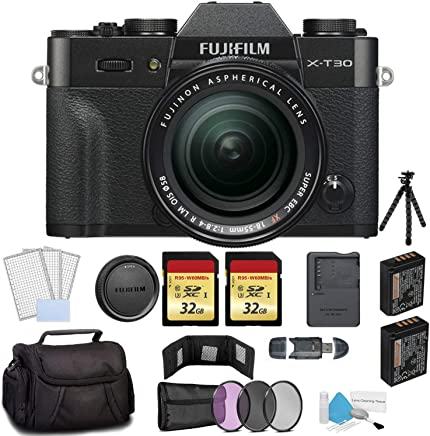 $1299 » FUJIFILM X-T30 Mirrorless Digital Camera with 18-55mm Lens Black 16619920 - Bundle with 2X 32GB Memory Cards + Spare Battery + Carrying Case + More
