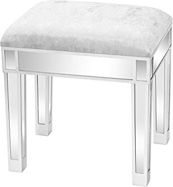 TITA-DONG Mirrored Vanity Stool,Silver Velvet Dressing Chair,Upholstered Glass Mirror Accent Footrest Makeup Stool for Bedroo