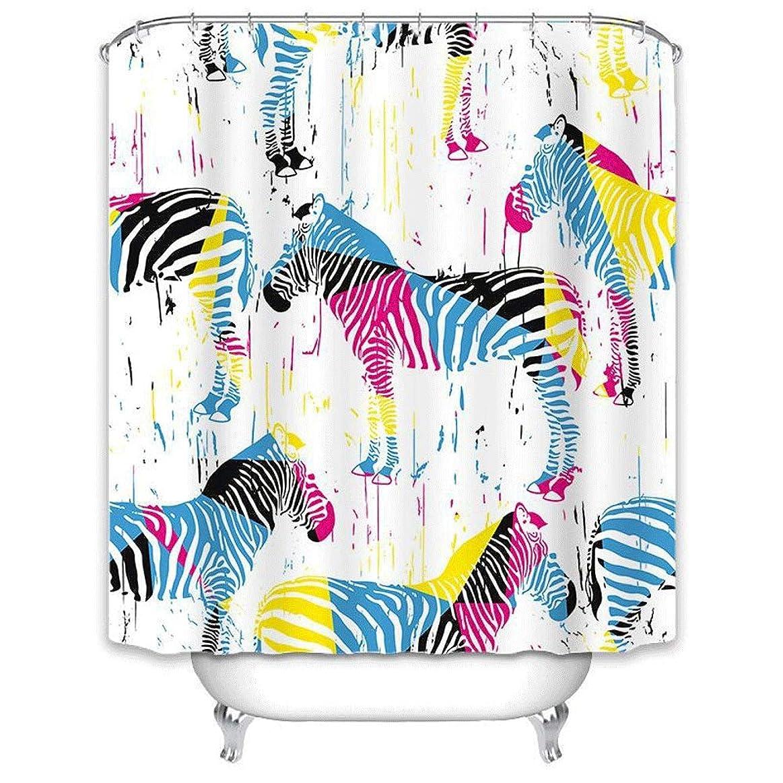 深さブレイズイディオムシャワーカーテン 創造的な印刷ポリエステルシャワーカーテン防水浴室のカーテン浴室用プラスチックフック付き (Color : Multi-colored, Size : 180cmx200cm)