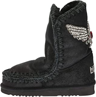 Mou Woman's Eskimo 24 Ankle Boot in Black Metallic Leather with Eagle