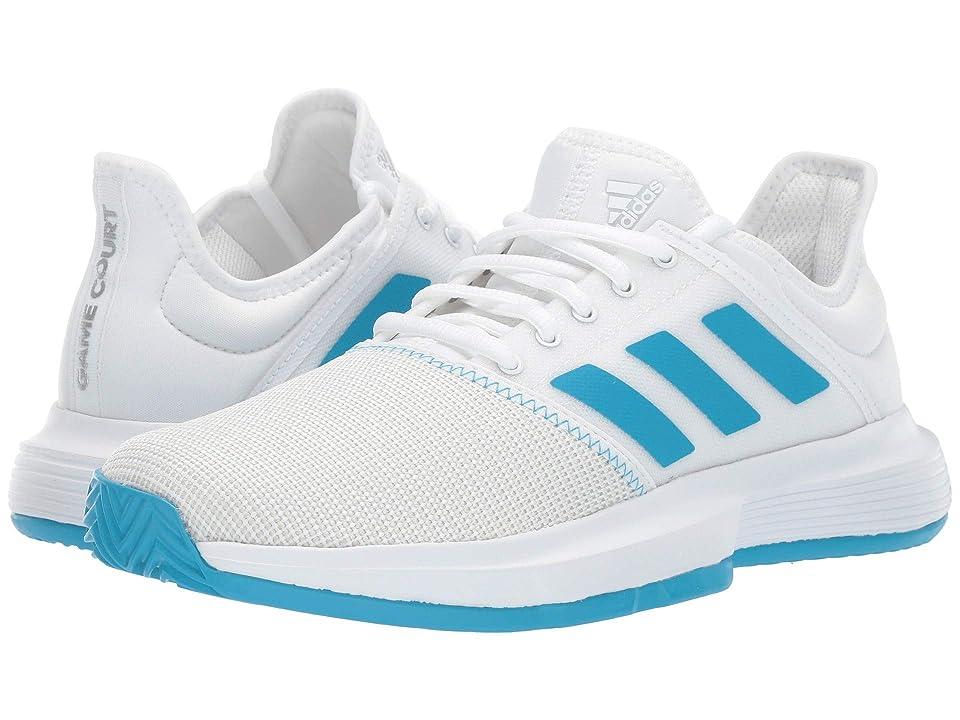 adidas GameCourt (Footwear White/Shock Cyan/Matte Silver) Women