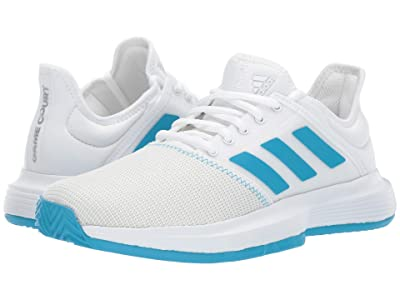 adidas GameCourt (Footwear White/Shock Cyan/Matte Silver) Women