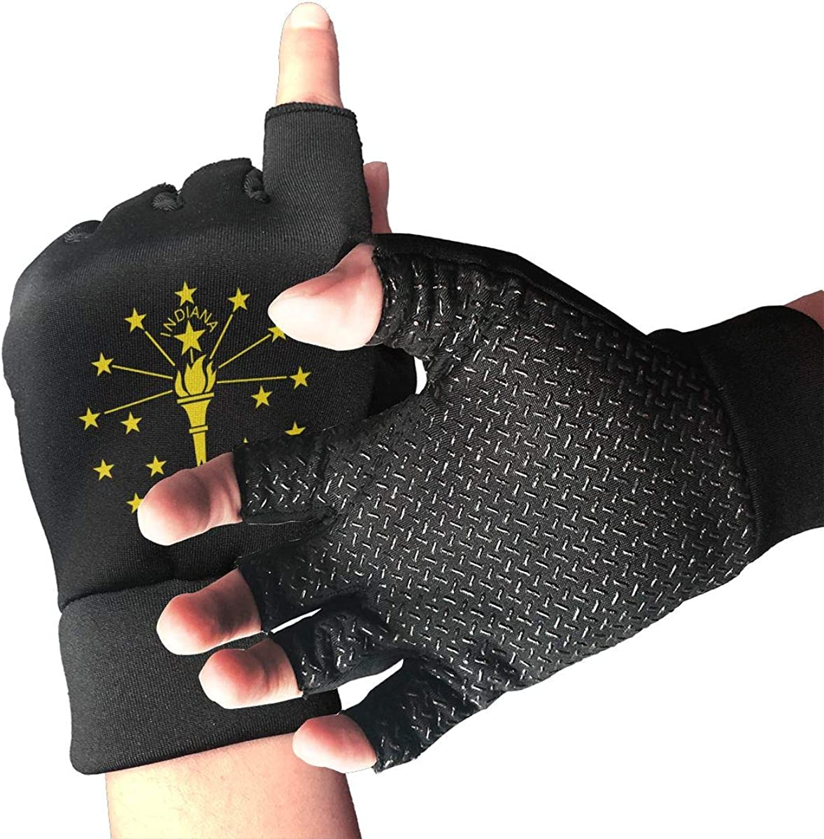 Gloves State Flag Indiana Fingerless Gloves Short Touchscreen Gloves Winter Motorcycle Biker Mitten
