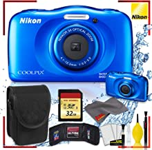 $210 Get Nikon Coolpix W150 Digital Camera - Blue (International Model) with Camera Cleaning Kit Bundle + 32gb Memory SD Card and Memory Card Wallet + Camera Case