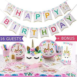 Unicorn Party Decorations for Girls Birthday 16 guests Unicorn Party Supplies Set 144 ps with Topper Cake & Bags