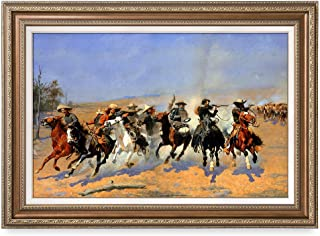 DECORARTS - A Dash for The Timber, Frederic Remington Classic Art Reproductions. Giclee Prints& Museum Quality Framed Art for Wall Decor. Framed Size: 35x25