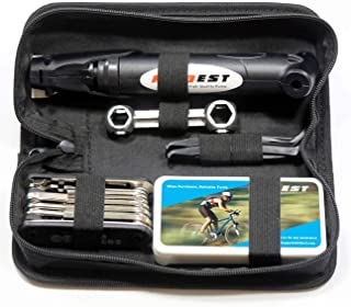 Kitbest Bike Repair Tool Kit. 100 PSI Mini Bike Pump, Tire Puncture Repair Kit, 16 in 1 Bike Multi Tool, Glueless Tire Patch Kit, Bicycle Tire Lever and Bike Bag