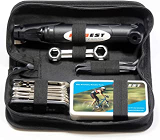 Kitbest Bike Repair Tool Kit. 100 PSI Mini Bike Pump, Tire Puncture Repair Kit, 16 in 1 Bike...