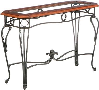 SEI Furniture Prentice Glass Top Sofa, Console Table, Dark Cherry/Black