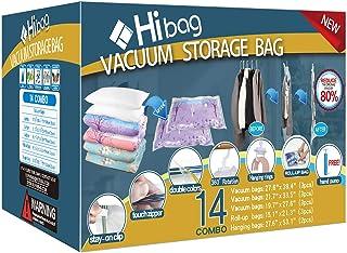 Hibag Space Saver Bags, 14-Pack Vacuum Storage Compression Bags (3 Jumbo Sizes, 3 Large Sizes, 3 Medium Sizes, 3 Carry-on ...