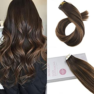 Moresoo 16 Inch Human Hair Extensions Tape in Hair Color Dark Brown #2 Ombre to Brown #6 Highlighted with #2 Seamless Skin Weft Human Hair Extensions Tape on Hair 20pcs/50g Glue on Hair