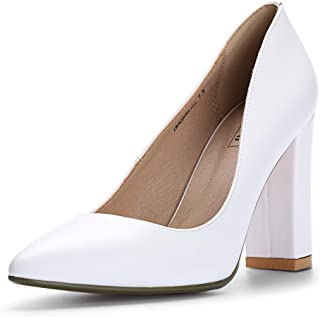 IDIFU Women's IN4 Chunky-HI Classic Closed Pointed Toe Pumps High Chunky Block Heels Dress Office Shoes White Size: 5