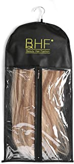 Hair Extensions Storage Bag with Wooden Hanger Carrier Case Protection for Daily Use & Travel (Black Color)