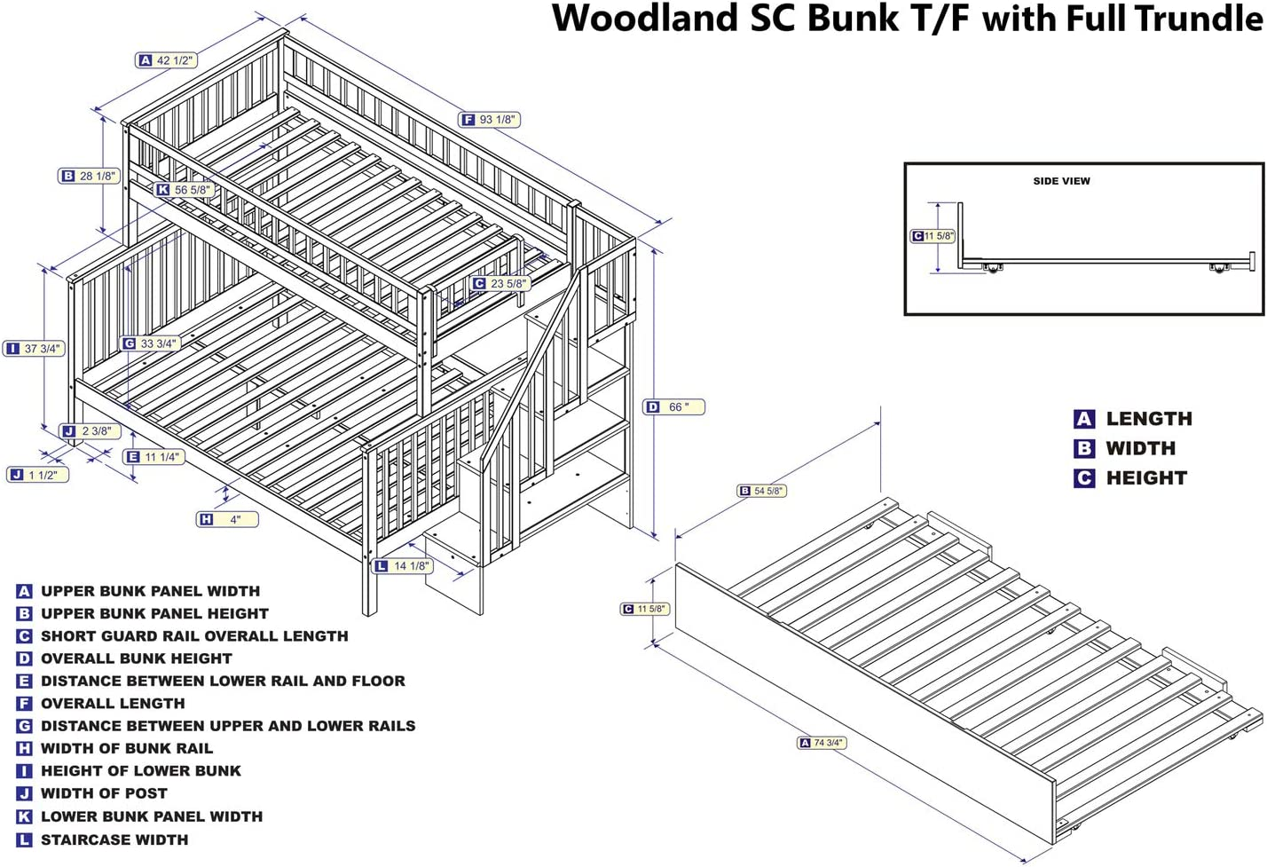 Atlantic Furniture Woodland Twin Over Full Bunk Bed with Trundle in White
