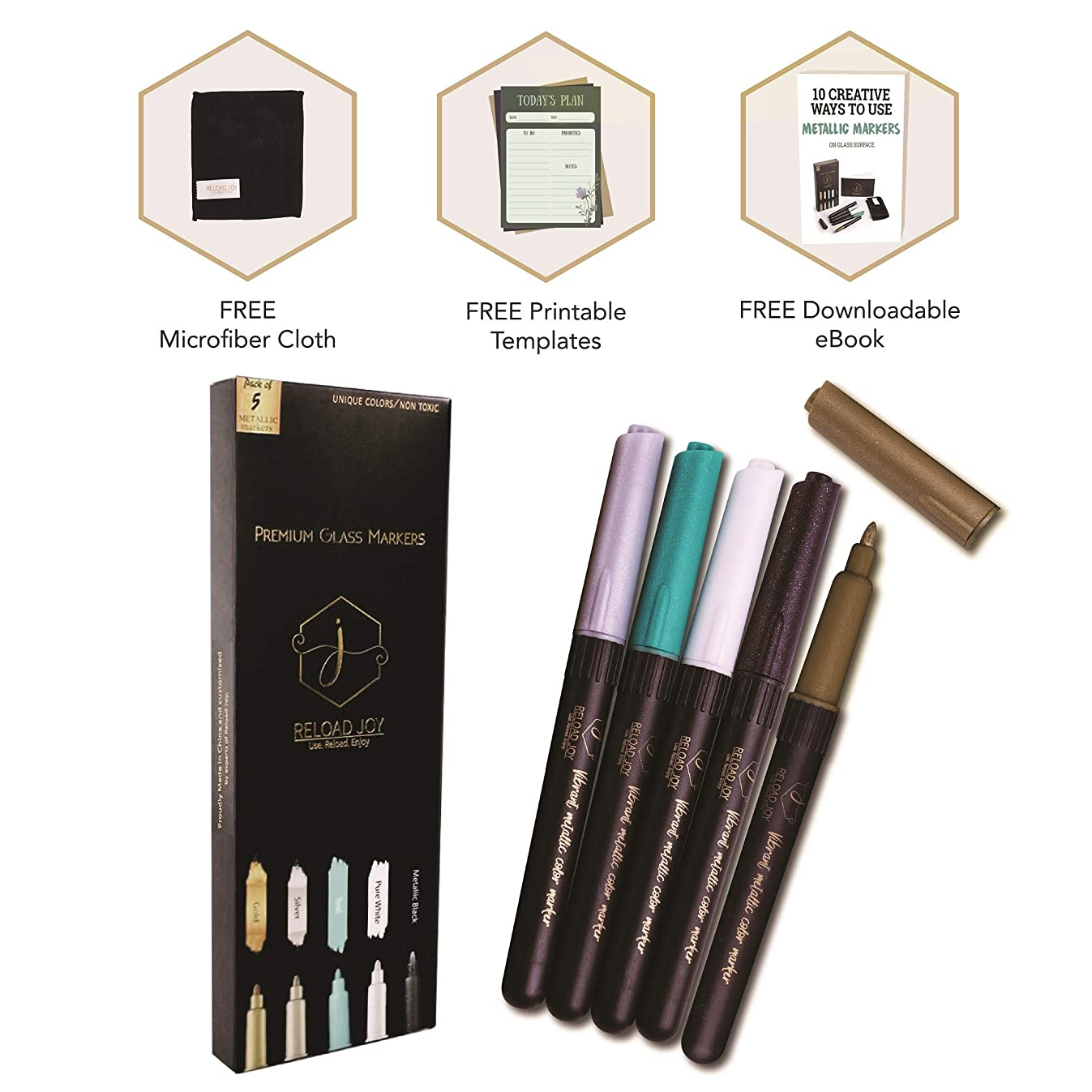 Rich Metallic Markers - 5 Set All Purpose Glass Markers with eBook for Creative Ideas and Microfiber Cleaning Cloth - No Smirk or Smudge Wine Markers - Free Printable Templates for Reloading your Joy