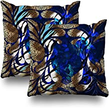 Kutita Set of 2 Decorative Pillow Covers 18x18 inch Throw Pillow Covers, Animal Print Leopard Background Flower Pattern Pattern Double-Sided Decorative Home Decor Pillowcase