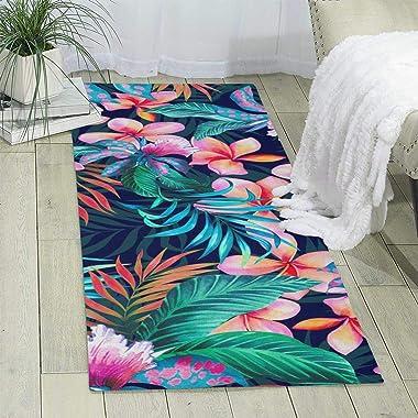 Bghnifs Tropical Flowers Print Area Rug Runner Rug Living Room Carpet Hallway Carpet Entry Rugs Room Bedroom Rugs, 70'&#3