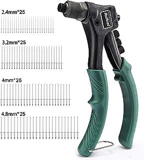 Rivet Gun with 100-Piece Rivets, Single Hand Manual Rivet Gun Kit With 4 Tool-free...