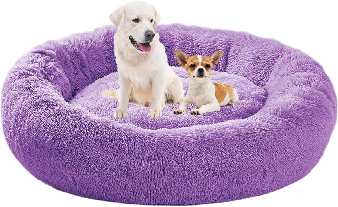 ping bu Cama calmante para perros, de felpa, para mascotas, ultrasuave, mullida, acogedora cama con parte inferior antideslizante, cama peluda para mascotas pequeñas, medianas y grandes
