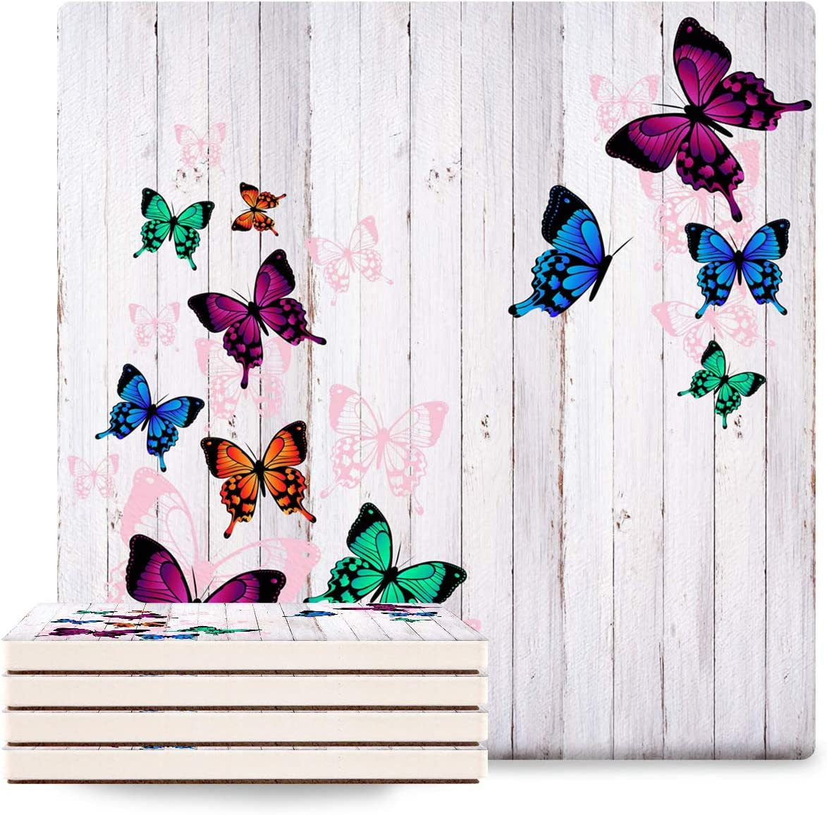 8 Max 76% OFF piece Coasters Butterfly Stone Absorbent Elegant with Ceramic