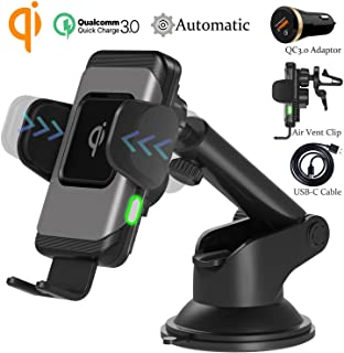 Wefunix Qi Chargeur Sans Fil Rapide Voiture Automatic Clamping Fast Wireless Car Charger..