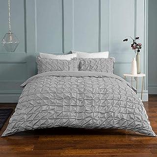 Sleepdown ljusgrått påslakanset med örngott, rynkade veck, grå passpoal, lättskött, mjukt, för enkelsäng (135 x 200 cm), b...