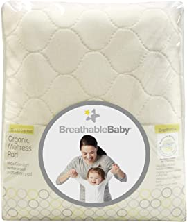 """BreathableBaby Premium Organic Fitted, Quilted Mattress Cover and Pad, 100% Waterproof, 28"""" x 52"""""""