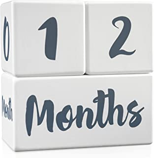 Growing Gifts Baby Milestone Blocks for Boys and Girls (3 Pc. Set) 1-52 Weekly, Monthly, First Year, and Yearly Photo Props | Real, Natural Wood Keepsakes | Shower, Newborn, Infant | Updated Product