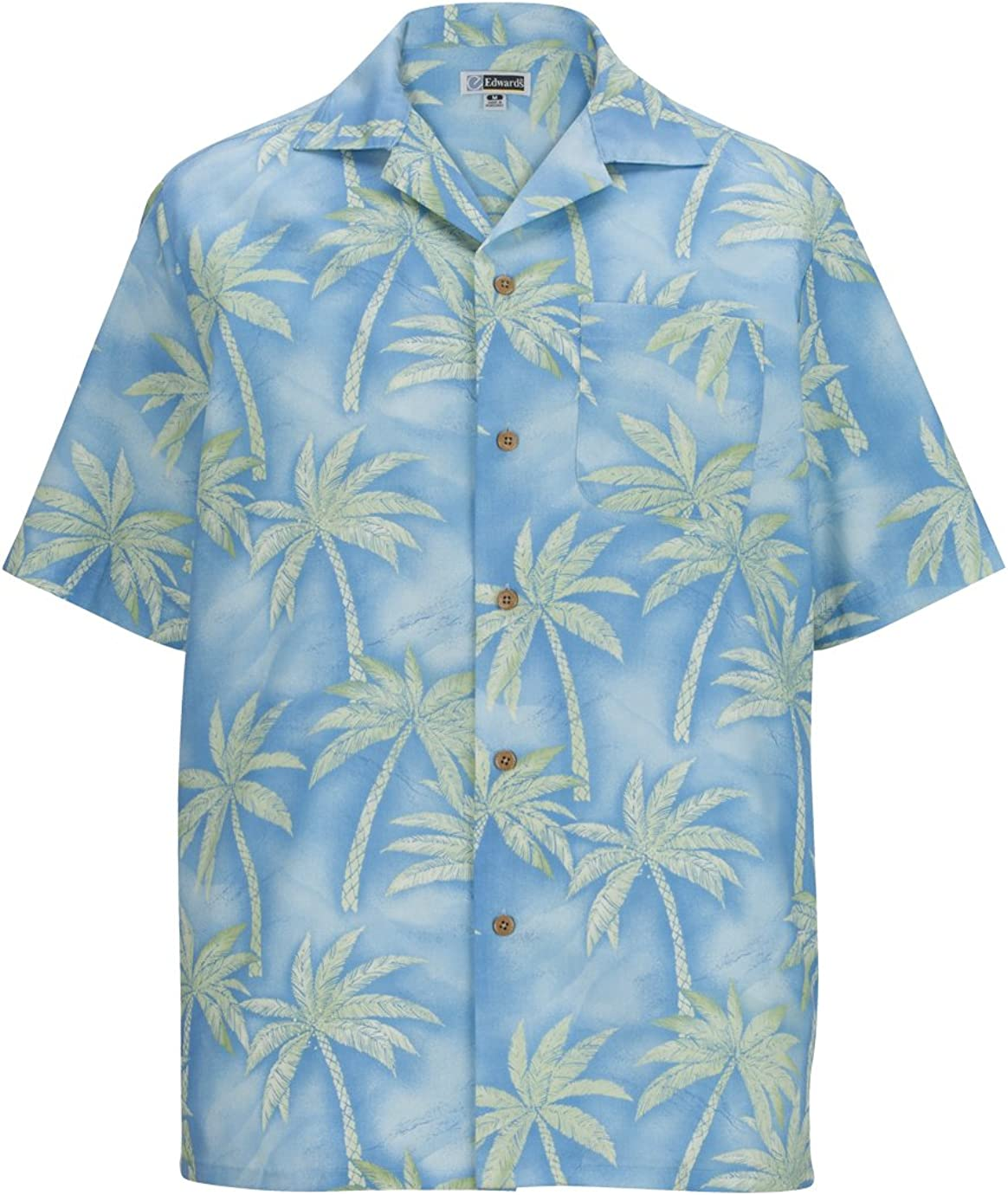Edwards Garment Comfort Palm Tree Traditional Camp Collar Polyester Shirt