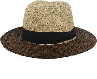 Fashion Sun Hat for Mix-Colour Sun Hat for Women Raffia Straw Beach Sun Hat Wide Brim Banama Hat Suitable for hot Weather Season (Color : Black, Size : 56-58CM)