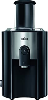 Braun J500 Spin Juicer extractor for whole fruit, citrus & vegetables 900 Watt, 2 speeds, anti splash spout, 1.25L foam seperating jug, dishwasher safe parts- Black