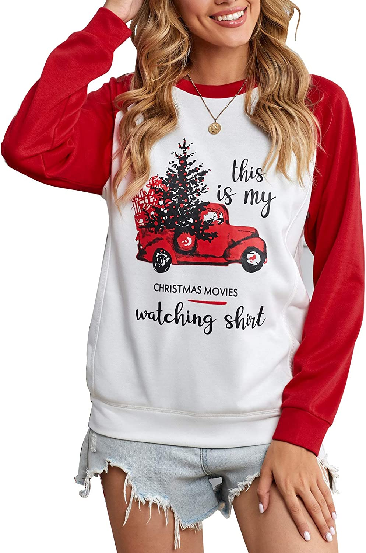 Zecilbo Women's Christmas Long Sleeve Crewneck Casual Loose Fit Sweatshirts