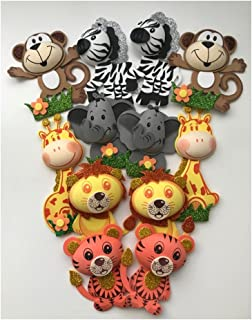 Medium Size Set of 12 Safari Jungle Animals Foam Decoration Shower Party Favor