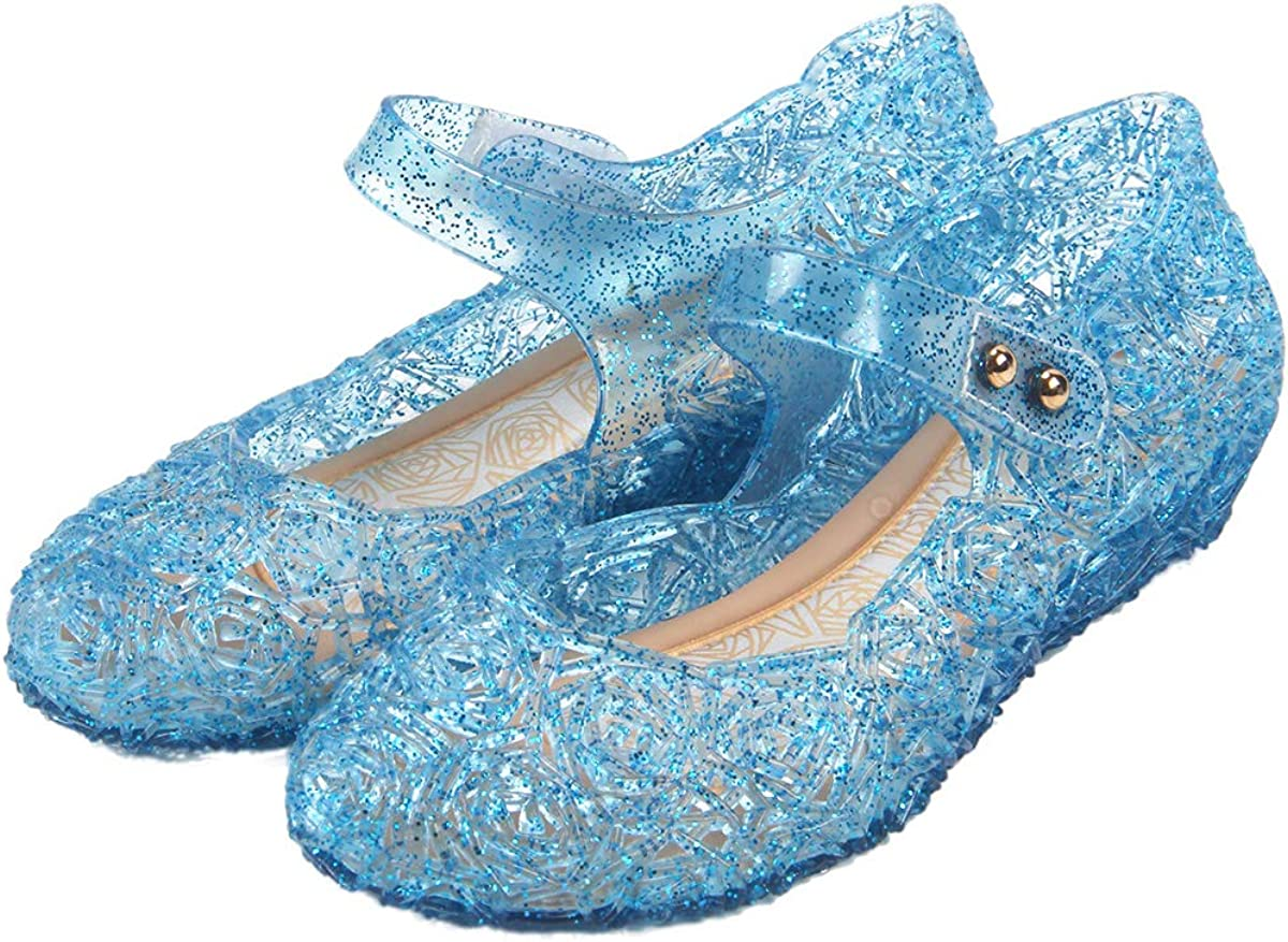 Frozen Inspired Elsa Costumes Flats Shoes, Snow Queen Princess Birthday Sandals for Little Girls, Toddler or Kids