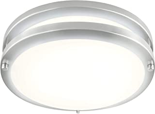 LB72170 LED Flush Mount Ceiling Light  10-Inch Modern, Dimmable, Round Light Fixture  Antique Brushed Nickel Finish  4000K Cool White, 17W, 1350 Lumens  ETL & DLC Listed, Energy Star  Indoors, Hallway