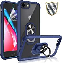 iPhone 8 Case, iPhone 7 Case, iPhone 6 Case with HD Screen Protector, Gritup [Military Grade] Crystal Clear Transparent Hard PC TPU Phone Case with Ring Car Mount Kickstand for Apple iPhone 6S Blue