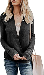 Women's Knitted Deep V-Neck Long Sleeve Wrap Front Loose Pullover Sweater