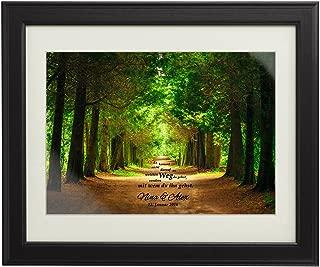 Gemeinsamer Weg – Frühling – Personalisiert mit Namen und Datum – Druck im Bilderrahmen – Geschenke zur Hochzeit für Paare – Geschenk-Idee für Freund oder Freundin – groß: 45 x 55 cm