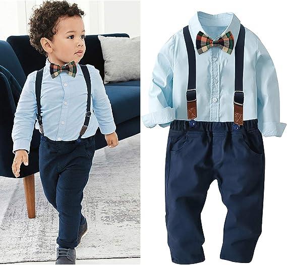 Nwada Ropa Niño Otoño Invierno Disfraz Cumpleaños Conjunto Camisa y Tirantes Pantalones y Corbata de Moño 1 a 6 Años