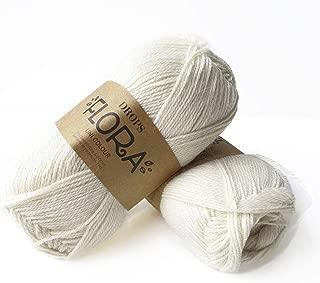 65% Wool 35% Alpaca Yarn, Drops Flora, 1 or Superfine, Fingering Weight, 4 ply, 1.8 oz 230 Yards per Ball (01 Off White)