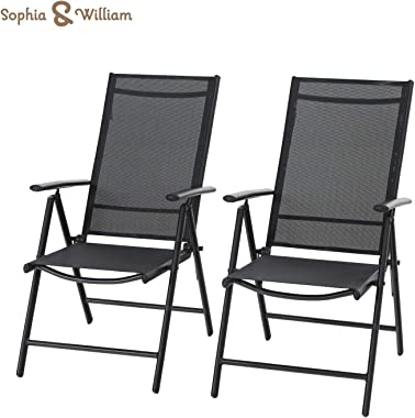 Sophia & William Patio Foldable Dining Chairs Set of 2, Outdoor Folding Sling Chairs 7 Levels Adjustable, High Back Portable Chairs for Porch, Poolside, Patio, Garden, Balcony, Backyard, Black