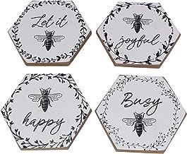 Honey Bee Happy Busy Let it Joyful Drink Coasters Set of 4 Wood
