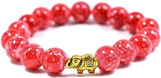 Aashya Mayro Handmade Beaded Cherry Dark Red Stone Bead, Elephant Golden Charm Bead, Round Adjustable Bracelet for Small G...