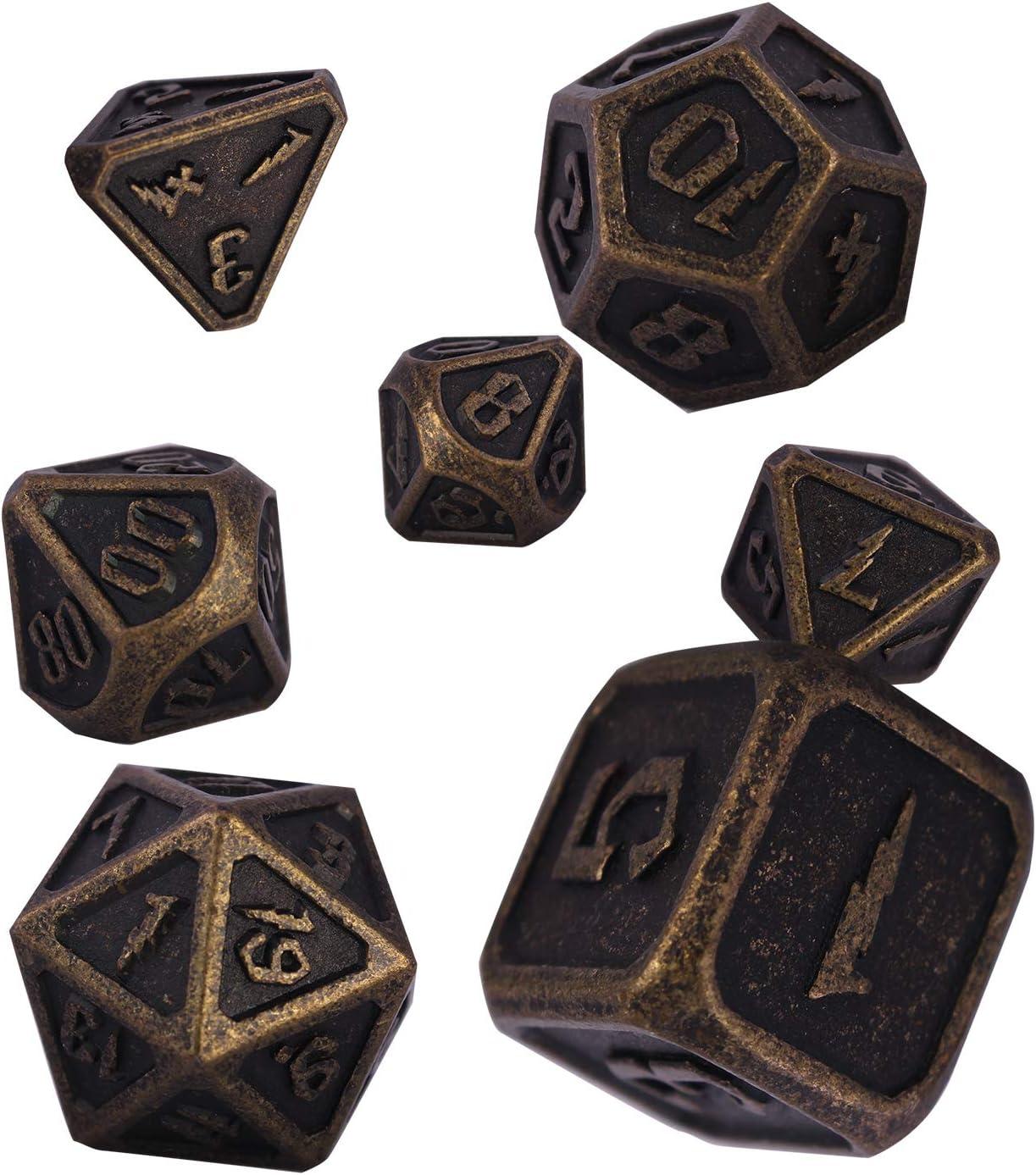 Schleuder Polyedrische W/ürfel Set DND Metal Dice Set Antique Bronze Dungeons and Dragons Metall W/ürfelset Rollenspiele Pathfinder D/&D RPG MTG Brettspiele