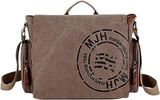 MANNUOSI Umhängetaschen Herren Segeltuch Herrentasche Vintage Reisetasche Schulranzen für Arbeit Alltagsleben Braun