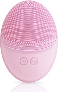 EZBASICS Facial Cleansing Brush made with Ultra Hygienic Soft Silicone, Waterproof Sonic Vibrating Face Brush for Deep Cleansing, Gentle Exfoliating and Massaging, Inductive charging(Pink)