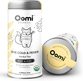 Bye Cold & Fever Echinacea Tea for Baby & Kids by Oomi - USDA Organic 30 Servings - Echinacea & Lemon Balm Tea - Gluten Fr...